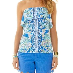 Lilly Pulitzer Wiley Tube Top Ruffle Bay Blue